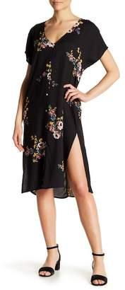 Love Stitch Printed Front Button Slit Dress