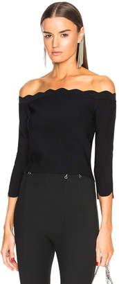 Alexander McQueen Scallop Hem Off Shoulder Sweater