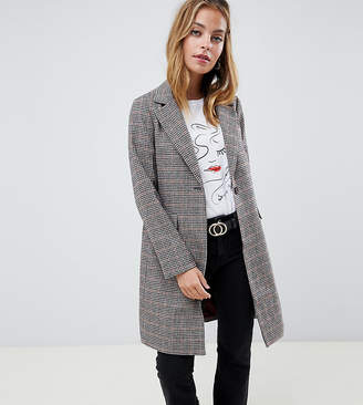 New Look Petite tailored coat in check