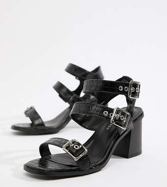 New Look Wide Fit Croc Multi Strap Heeled Sandal