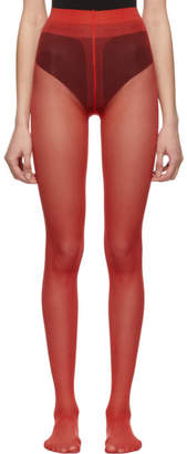 Gucci Red Plain Logo Tights