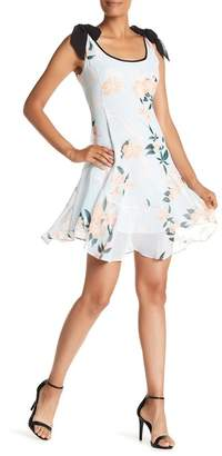 Donna Morgan Tie Sleeve Floral Printed Chiffon Dress