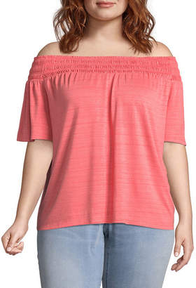 Boutique + + Short Sleeve Woven Blouse - Plus