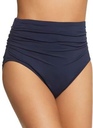 Carmen Marc Valvo Shirred High-Waist Bikini Bottom