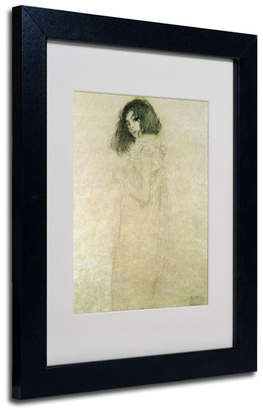 "Gustav Trademark Global Klimt 'Portrait of a Young Woman 1896-97' Matted Framed Art - 14"" x 11"""