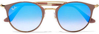 Ray-Ban - Round-frame Acetate And Gold-tone Sunglasses - Blue $185 thestylecure.com