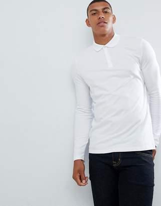 Asos DESIGN long sleeve jersey polo in white