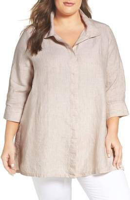 Foxcroft Chambray Linen Tunic Shirt