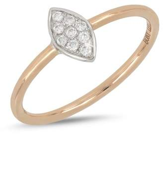 Bony Levy 18K White & Rose Gold Diamond Detail Marquise Ring
