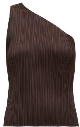 Pleats Please Issey Miyake Pleated One Shouldered Top - Womens - Dark Brown