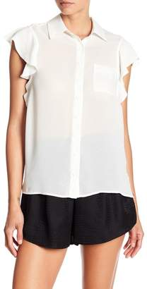 David Lerner Ruffle Sleeve Front Button Blouse