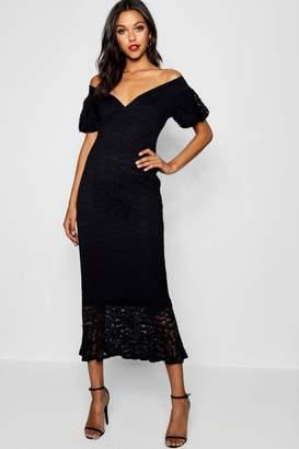 boohoo Tall Off The Shoulder Lace Midi Dress