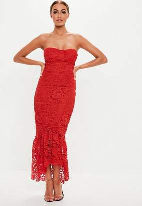 8d82341072 Missguided Red Lace Bandeau Bust Cup Midi Dress