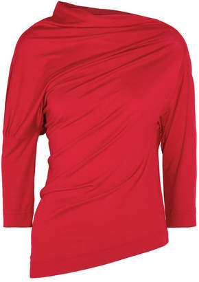 Vivienne Westwood Anglomania - Liberate Asymmetric Draped Stretch-jersey Top - Red