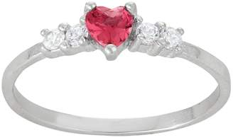 Junior Jewels Kids' Sterling Silver Cubic Zirconia Heart Ring