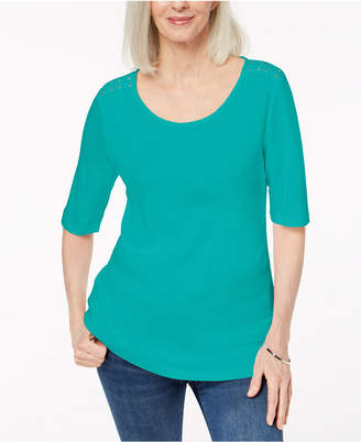 Karen Scott Cotton Laced-Shoulder T-Shirt