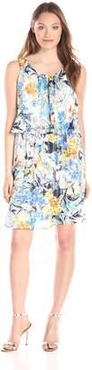Amy Byer Women's Scoop Neck Pop Over Printed Dress, Multi/Blue