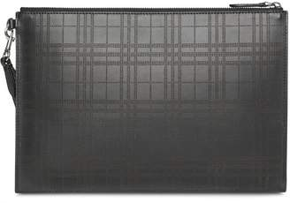 Burberry Perforated Check Leather Zip Pouch