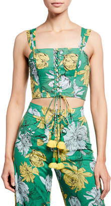 Alexis Kiddo Floral-Print Sleeveless Lace-Up Crop Top