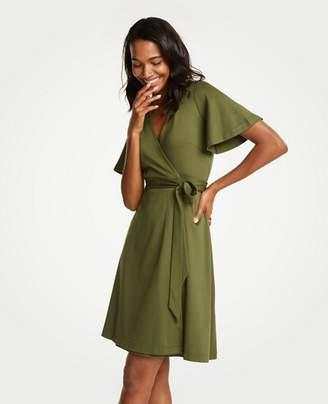 Ann Taylor Petite Flutter Sleeve Wrap Dress