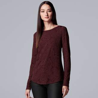 Vera Wang Women's Simply Vera Floral Lace Tee