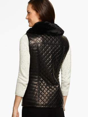 Talbots Quilted Leather Moto Vest
