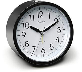 Peakeep 4 inch Round Silent Analog Alarm Clock Non Ticking