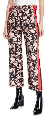 Pinko Floral-Print Sporty Side-Stripe Ankle Pants