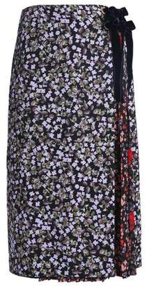 Mother of Pearl Paneled Floral-Print Silk-Crepe Midi Skirt