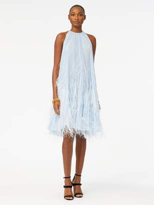 Oscar de la Renta Feather-Embroidered Pleated Chiffon Cocktail Dress