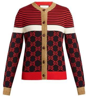 Gucci Gg Jacquard Cotton Cardigan - Womens - Navy Multi