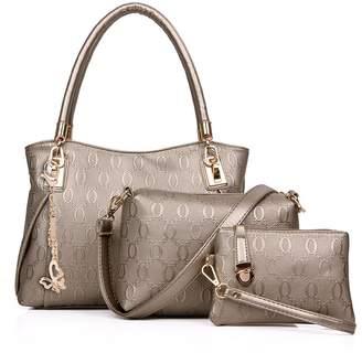 ZUNIYAAA Fashion Woen (Ladies) Synthesis Leather Top Handle Handbag (Tote)+ Shoulder Bag + Purse Bag 3 Set