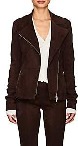 The Row Women's Paylee Suede Moto Jacket - Mahogany