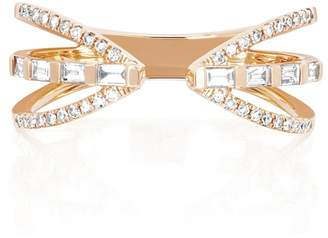 Ef Collection 14K Rose Gold Diamond Triple Row Ring - Size 6 - 0.30 ctw
