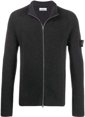 Stone Island ribbed knit zipped cardigan