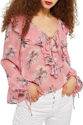Topshop Floral Ruffle Pompom Blouse
