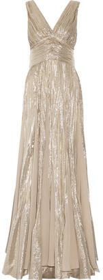 Oscar de la Renta - Pleated Chiffon-paneled Silk-blend Lamé Gown - Silver $9,990 thestylecure.com