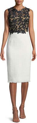 Oscar de la Renta Lace/Tweed Combination Sheath Dress