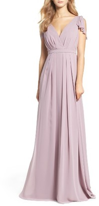 Women's Monique Lhuillier Bridesmaids Sleeveless Deep V-Neck Chiffon Gown $298 thestylecure.com