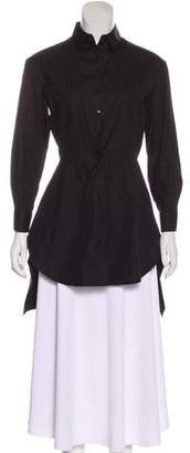 Alaia Pleated Button-Up Top