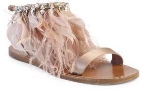 Miu Miu Jeweled Feather & Satin Sandals