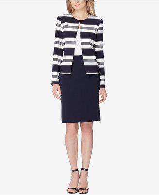 Tahari Asl Striped Contrast Skirt Suit $280 thestylecure.com