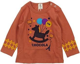 ChocolA (ショコラ) - chocola(ショコラ) 天竺木馬刺繍長袖Tシャツ 95cm /オレンジ NO.CH-1419-12022