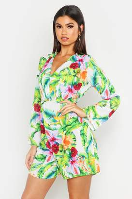 boohoo Tropical Palm Knot Front Playsuit