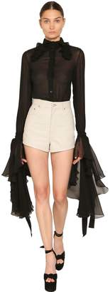 Saint Laurent Sheer Silk Georgette Shirt W/ Ruffles