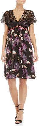Giamba Black Flamingo Print Lace Empire Waist Dress
