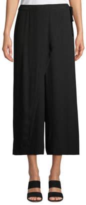 Eileen Fisher Wrap-Front Wide-Leg Cropped Silk Pants