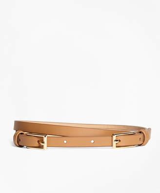 Brooks Brothers Leather Two-Buckle Belt