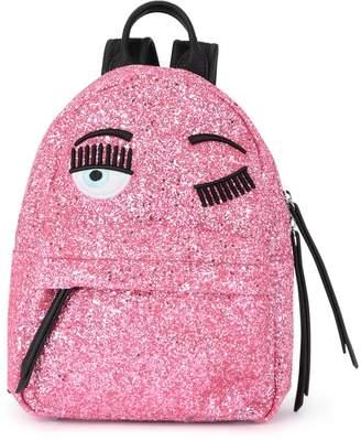 Chiara Ferragni Flirting Small Pink Glitter And Black Faux Leather Backpack