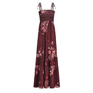 e769683a3626b0 UVAN ART Women's Bohemian Maxi Dress Floral Print Casual Long Dresses Plus  Size Strap Dress (